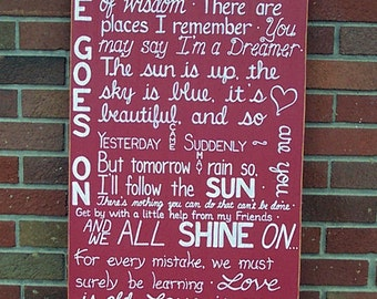 BEATLES Lyrics SIGN Subway Distressed Red Handmade Hand-painted Wooden Custom 18x36 Whagn