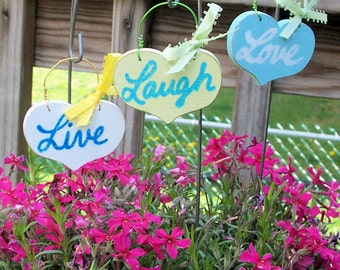 Live Laugh Love Garden Stakes SIGNS three Distressed Handmade Hand-painted Wooden WHAGN Made to Order