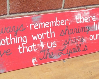 Always Remember Love that let us share our name SIGN Subway Style CUSTOM Distressed primitive red Hand-painted Wooden 7x24 WHAGN