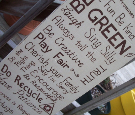 Family Rules Sign Subway Sign BE GREEN SIGN Custom Distressed Ivory Handmade Hand-painted Wooden 10x36 Whagn
