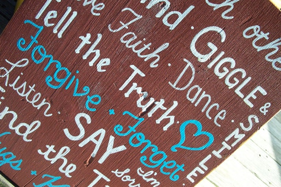Love Rules SIGN Family Rules Subway Distressed primitive Handmade Hand-painted Wooden 12x15 WHAGN