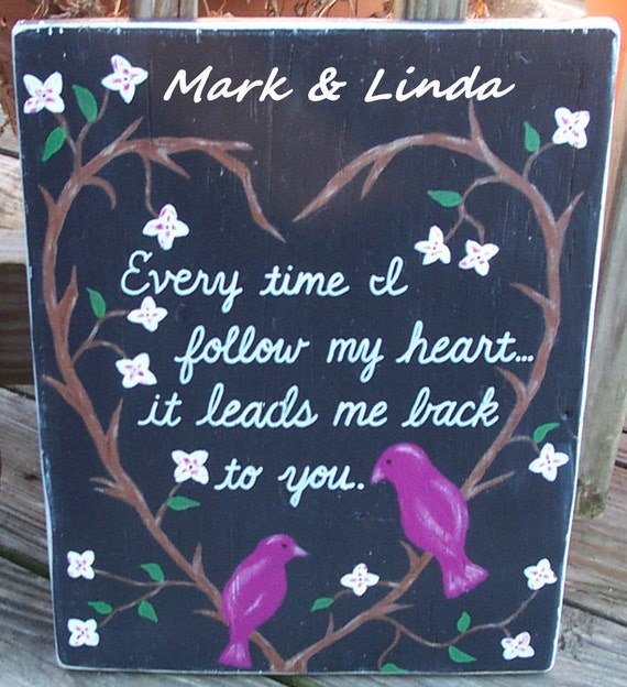 Valentine Lovebirds SIGN Original Painting Names Distressed primitive Love Handmade Hand-painted Wooden 12x15  WHAGN