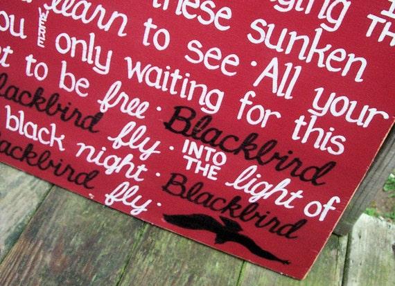 BEATLES Blackbird Lyrics SIGN Subway Distressed Cajun Red Handmade Hand-painted Wooden Custom 24x24 Whagn