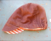 infant CYCLING CAP hat--reversible upcycled burgundy wool and red and white striped cotton--size 3-9 months