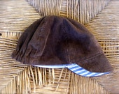 Custom Order fro Lauren--Baby Cycling Cap Hat--reversible blue and white stripes and brown corduroy--custom sized