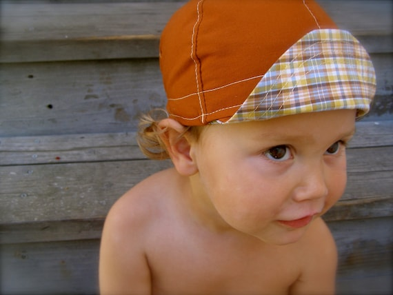 Rusty Relaxo Plaid Wee Cap reversible cycling cap upcycled copper and retro plaid cotton--XL 3yrs to adult