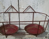 Vintage 1930s French cherry red Metal Flower Basket Hanging Wall Planters Garden Pot Holders