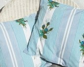 Pair of French Cushion covers made from Vintage 1920s Blue Rose French Fabric  Pillow Case Slip