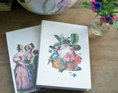 Pair Vintage French Hardback Books Decoration, Novels Library, Set Dressing cabbage roses, around the piano