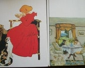 Pair Vintage French Books Classic Novels Lovely French Taking Tea Covers Chat Noir Decoration, Library, Set Dressing