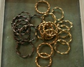 Lot of small Antique French Curtain rings 20 twisted gilt adorable little rings