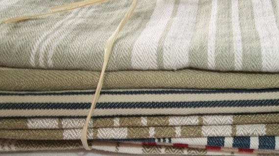 """Bundle of Vintage French 1930's Mixed Stripe Linen Ticking Fabric Pieces Scrap 10"""" Blocks"""
