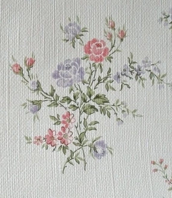 Vintage french wallpaper rolls 1950s cottage posies for Old french wallpaper