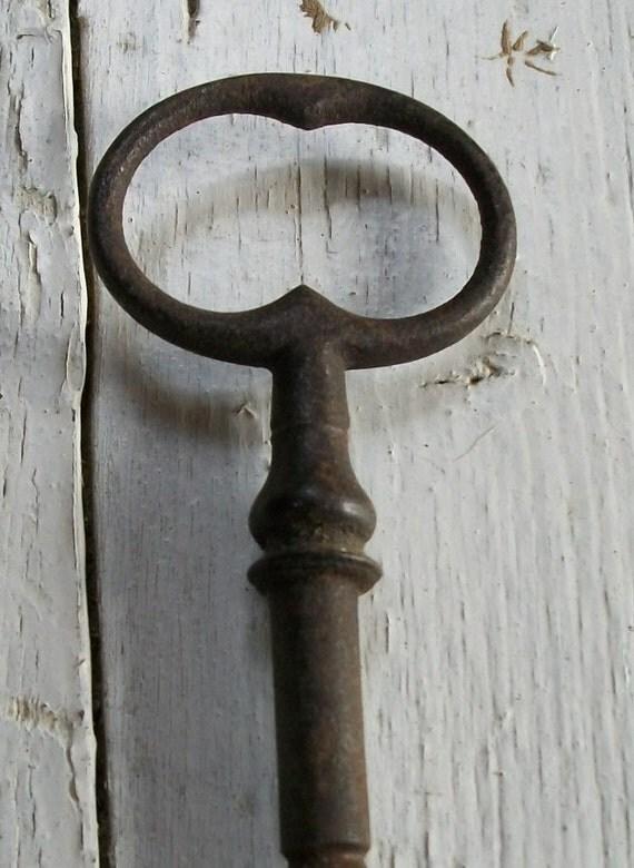 Large Antique French Chateau Gate key Iron WInders skeleton key