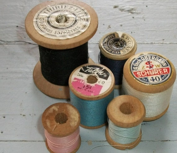 Lot Antique French Wooden Cotton Reels Thread Spools Bobbins  Yarn