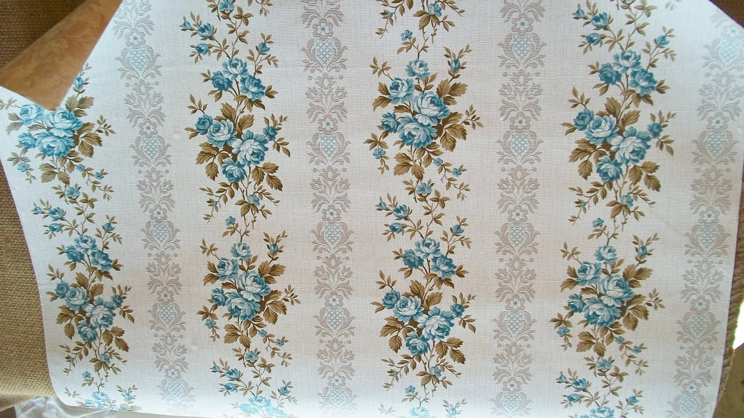 Vintage french 1940s wallpaper blue rose ticking for Old french wallpaper