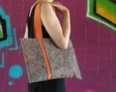 No.11 The rectangular shoulder bag with orange eco leather