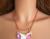 Halfmoon Rose China Pendant on Copper Chain
