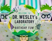 Custom Welcome Sign (6 Inch Circle) from the Science Birthday Themed DIY Printable Collection by Spaceships and Laser Beams