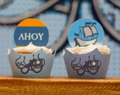 Nautical Cupcake Wrapper (Ocean) from the Vintage Nautical DIY Printable Birthday Party Collection by Spaceships and Laser Beams