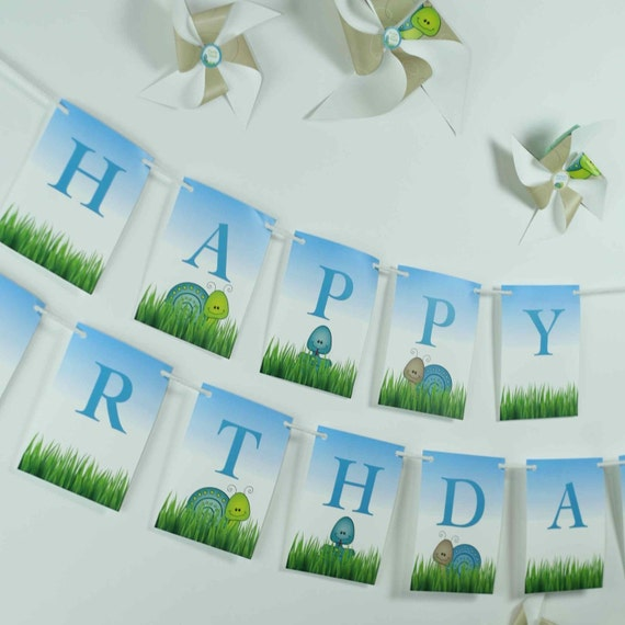Happy Birthday Banner from the Snakes and Snails DIY Printable Birthday Party Collection by Spaceships and Laser Beams