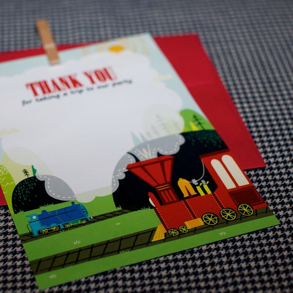 Thank You Card from the Vintage Train DIY Printable Collection by Spaceships and Laser Beams