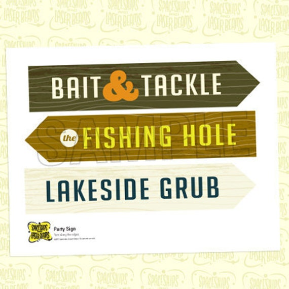 Fishing Welcome Sign (Small) from the Vintage Fishing DIY Printable Collection by Spaceships and Laser Beams