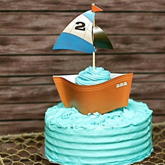 Custom Cupcake Wrapper (Boat) from the Vintage Fishing DIY Printable Party Collection by Spaceships and Laser Beams