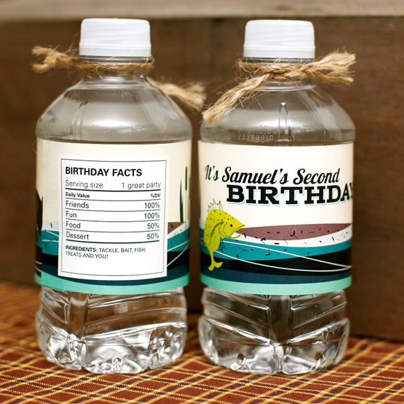 Custom Water Bottle Labels from the Vintage Fishing DIY Printable Party Collection by Spaceships and Laser Beams