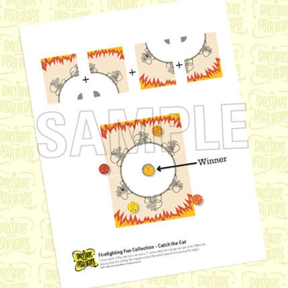 Fireman Birthday Catch-the-cat Game from the Firefighting Fun DIY Printable Collection by Spaceships and Laser Beams