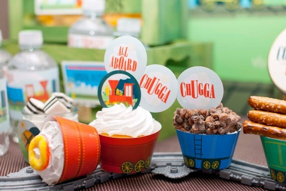 Train Cupcake Wrappers from the Vintage Train DIY Printable Collection by Spaceships and Laser Beams