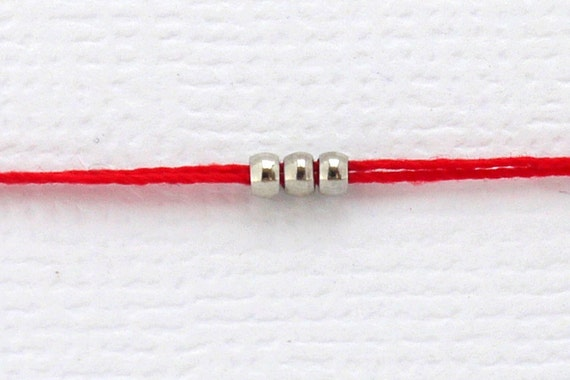 Red String Bracelet with Silver Beads