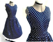Vintage style Navy almost black rockabilly 50's polka dot dress 2XL 2X with bigger arm holes than before
