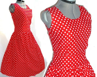 Vintage style redpolka dot 60's boatneck rockabilly 50's polka dot mad men dress XL