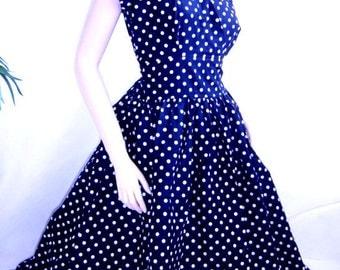 Navy polka dot dress | Etsy