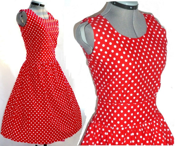 Vintage style RED rockabilly 50's polka dot dress XL  with bigger arm holes than before