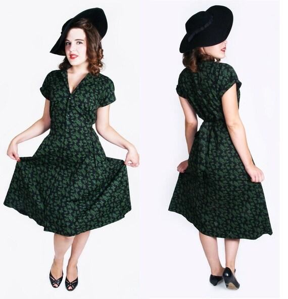 Vintage style black  rockabilly 50's 40's dress 2XL