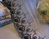 Ribbon 048 - Black Rose Lace in Vintage Style x 100cm/ length