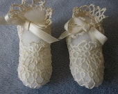 Antique Tatted Baby Christening Booties Shoes
