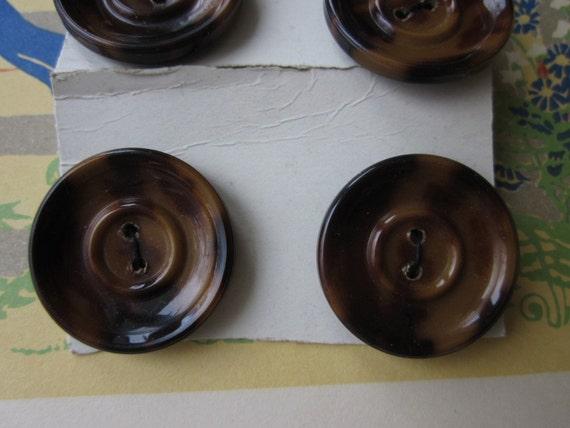 6 Vintage Celluloid Buttons Faux Tortoise