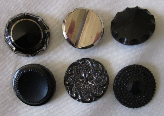"""Mixed Lot of 6 Larger Victorian Black Glass Luster Buttons 1"""""""