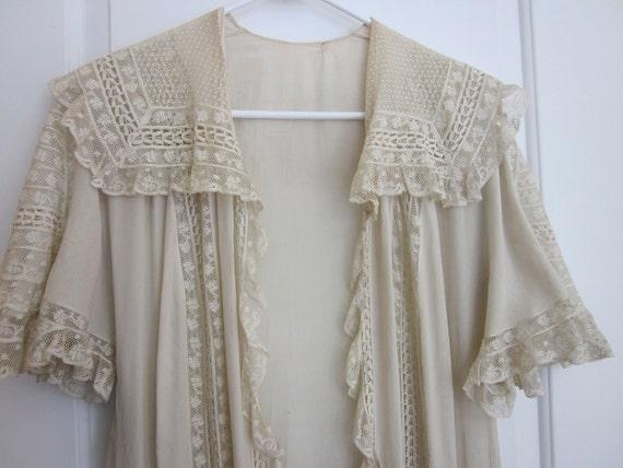 Vintage 1930s Silk & Lace Lingerie Flapper Wrapper Dressing Gown