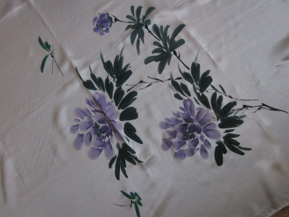 """35"""" Square Hand Painted Floral Oriental Design Silk Scarf"""