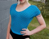 Vintage 80s / 90s LEOTARD blue black polka dot one piece onesie HIPSTER swim suit Medium