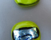 Sour Apple Green Glass Buttons with  Dichroic Glass - Set of Two