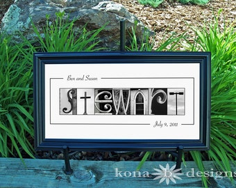Alphabet Letter Photography BW WEDDING 10x20 Name Frame Print UNFRAMED