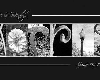 Wedding Name Frame - Nature Letter photography  - Alphabet photography  - Photography Print 10x20 (Unframed)