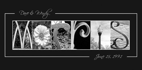Custom WEDDING GIFT Alphabet Photography Name Frame Print 10x20 (Unframed)