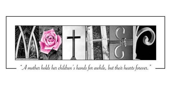 Mother's Day - Alphabet Photography - LAST Name Photo Art Print - 10x20 Unframed