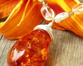 LUXE Wire Wrapped Amber Pendant and Citrine Necklace ON SALE